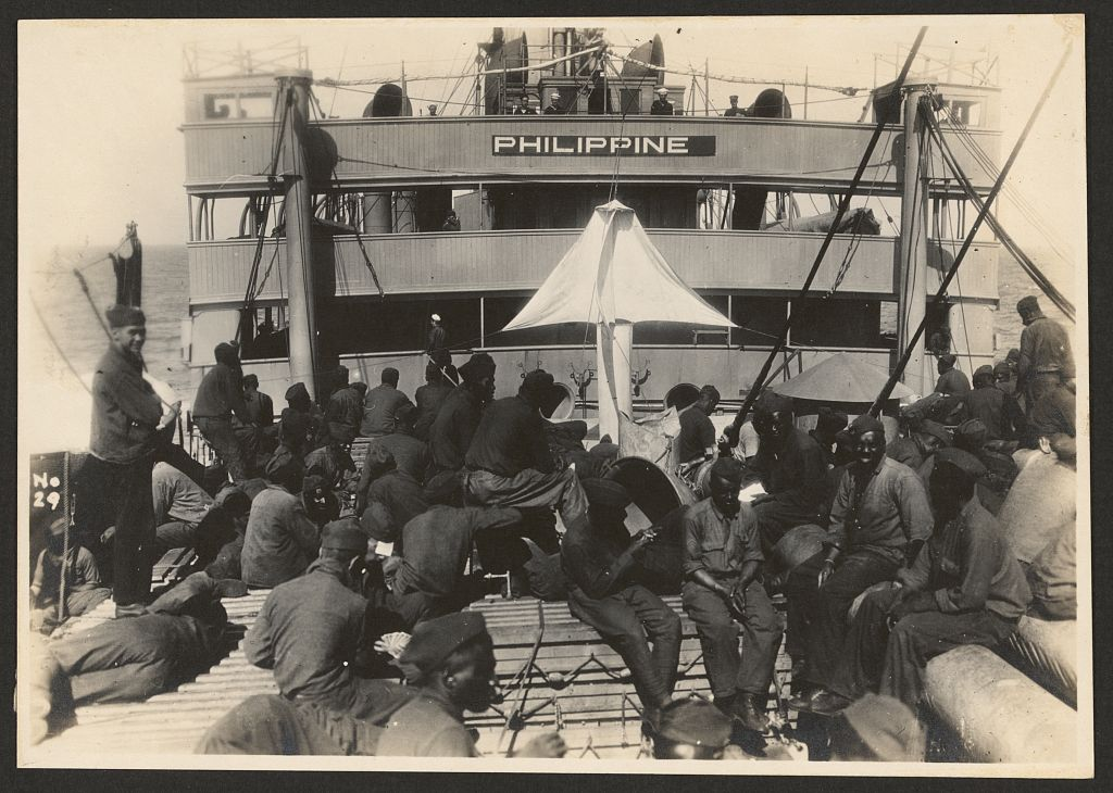 African-American troops of the 803rd Pioneer  Infantry Battalion on the U.S.S. Philippine.
